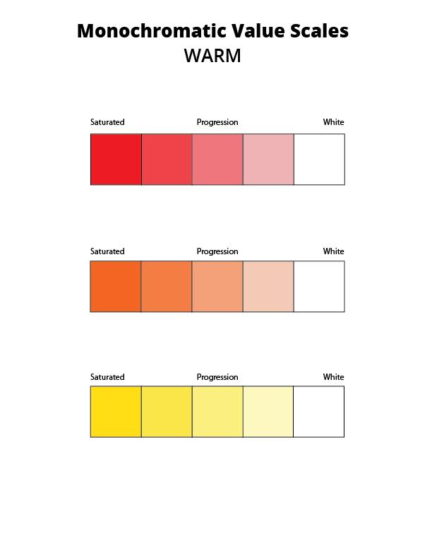 warm monochromatic value scale